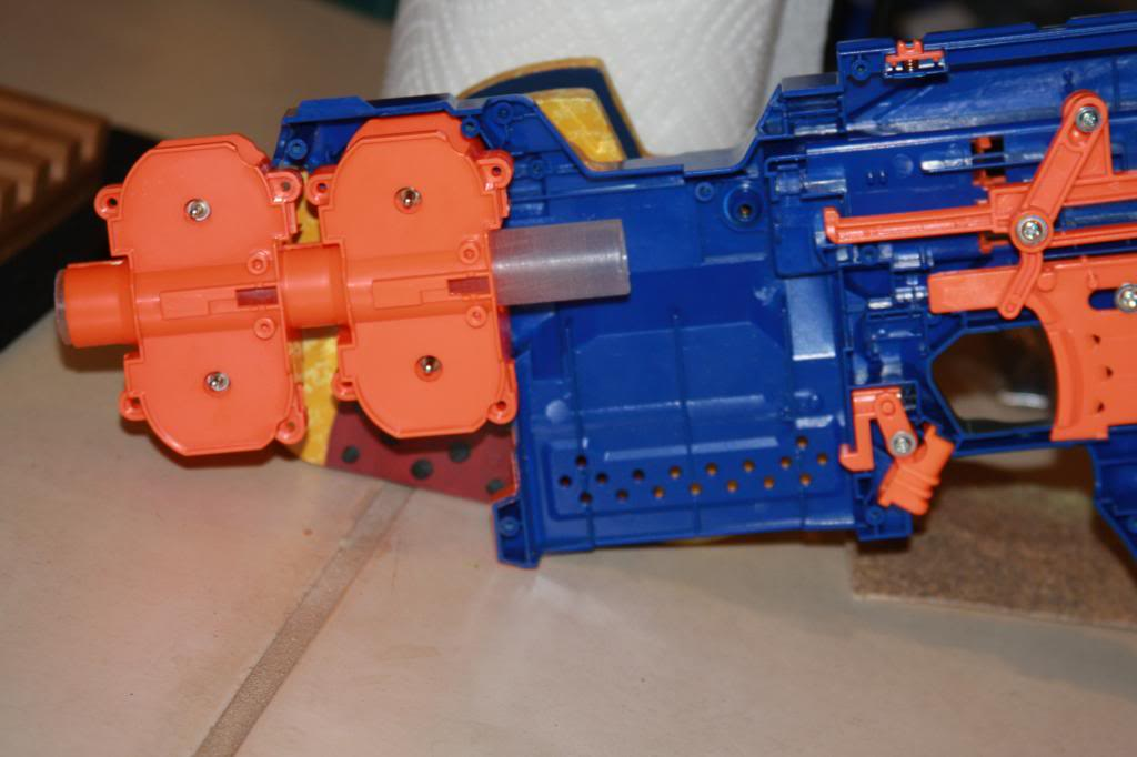 This is a modified electronic Nerf flywheel blaster. Modifications done to  this blaster include: Motors replaced, wiring redone with solid core  wiring, ...